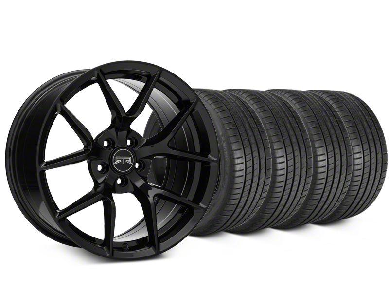 Staggered RTR Tech 5 Black Wheel & Michelin Pilot Super Sport Tire Kit - 19 in. - 2 Rear Options (05-14 All)