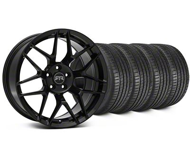 Staggered RTR Tech 7 Black Wheel & Michelin Pilot Super Sport Tire Kit - 19 in. - 2 Rear Options (05-14 All)