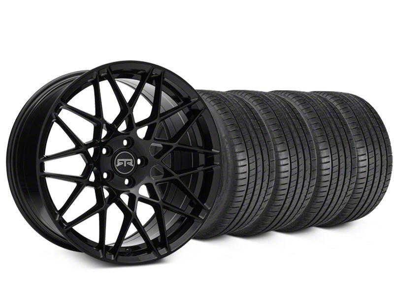 Staggered RTR Tech Mesh Black Wheel & Michelin Pilot Super Sport Tire Kit - 19 in. - 2 Rear Options (05-14 All)