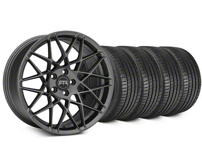 Staggered RTR Tech Mesh Charcoal Wheel & Michelin Pilot Super Sport Tire Kit - 19 in. - 2 Rear Options (05-14 All)