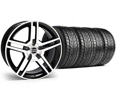 Staggered 2010 GT500 Style Black Machined Wheel & NITTO NT555 G2 Tire Kit - 19x8.5/10 (15-19 GT, EcoBoost, V6)