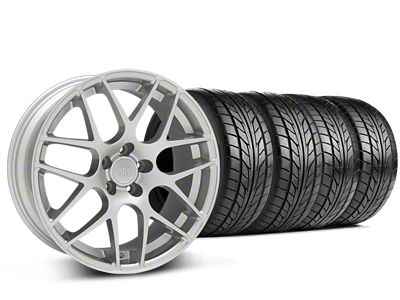 Staggered AMR Silver Wheel & NITTO NT555 G2 Tire Kit - 19x8.5/11 (15-19 GT, EcoBoost, V6)