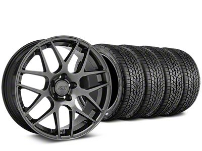 Staggered AMR Dark Stainless Wheel & BF Goodrich G-FORCE COMP 2 Tire Kit - 19x8.5/11 (15-19 GT, EcoBoost, V6)