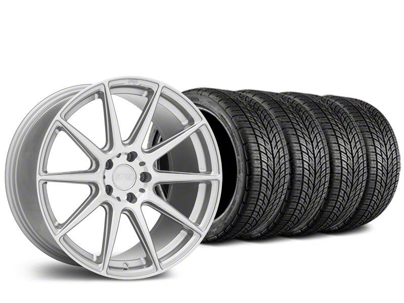 Staggered Niche Essen Silver Wheel & BF Goodrich G-FORCE COMP 2 Tire Kit - 19x8.5/10 (15-19 GT, EcoBoost, V6)
