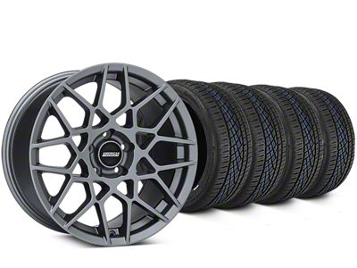 Staggered 2013 GT500 Style Charcoal Wheel & Continental Extreme Contact DWS06 Tire Kit - 19x8.5/10 (15-19 GT, EcoBoost, V6)