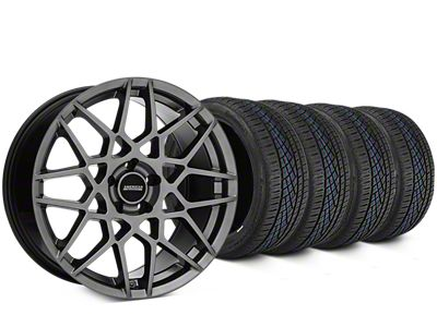 Staggered 2013 GT500 Style Hyper Dark Wheel & Continental Extreme Contact DWS06 Tire Kit - 19x8.5/10 (15-19 GT, EcoBoost, V6)
