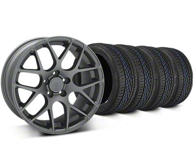 Staggered AMR Charcoal Wheel & Continental Extreme Contact DWS06 Tire Kit - 19x8.5/11 (15-19 GT, EcoBoost, V6)