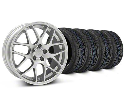 Staggered AMR Silver Wheel & Continental Extreme Contact DWS06 Tire Kit - 19x8.5/11 (15-19 GT, EcoBoost, V6)