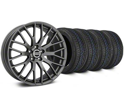 Staggered Performance Pack Style Charcoal Wheel & Continental Extreme Contact DWS06 Tire Kit - 19x8.5/10 (15-19 All)