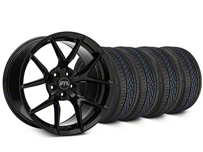 Staggered RTR Tech 5 Black Wheel & Continental Extreme Contact DWS06 Tire Kit - 19x9.5/10.5 (15-19 GT, EcoBoost, V6)