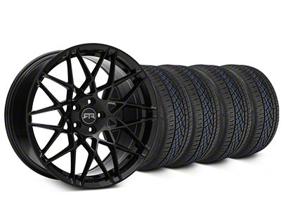 Staggered RTR Tech Mesh Black Wheel & Continental Extreme Contact DWS06 Tire Kit - 19x9.5/10.5 (15-19 GT, EcoBoost, V6)