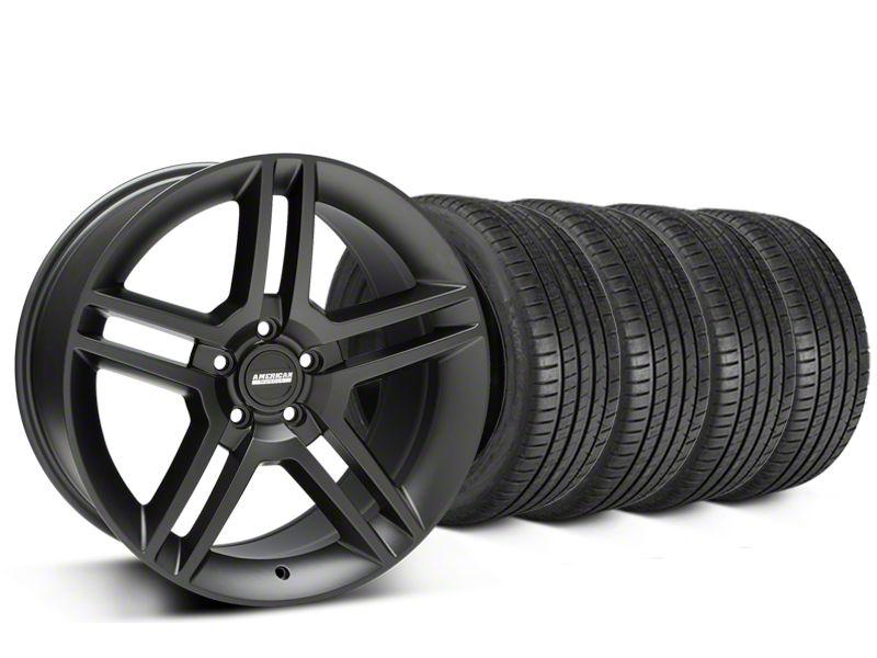 Staggered 2010 GT500 Style Matte Black Wheel & Michelin Pilot Super Sport Tire Kit - 19 in. - 2 Rear Options (15-19 GT, EcoBoost, V6)