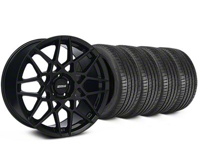 Staggered 2013 GT500 Style Gloss Black Wheel & Michelin Pilot Super Sport Tire Kit - 19 in. - 2 Rear Options (15-19 GT, EcoBoost, V6)