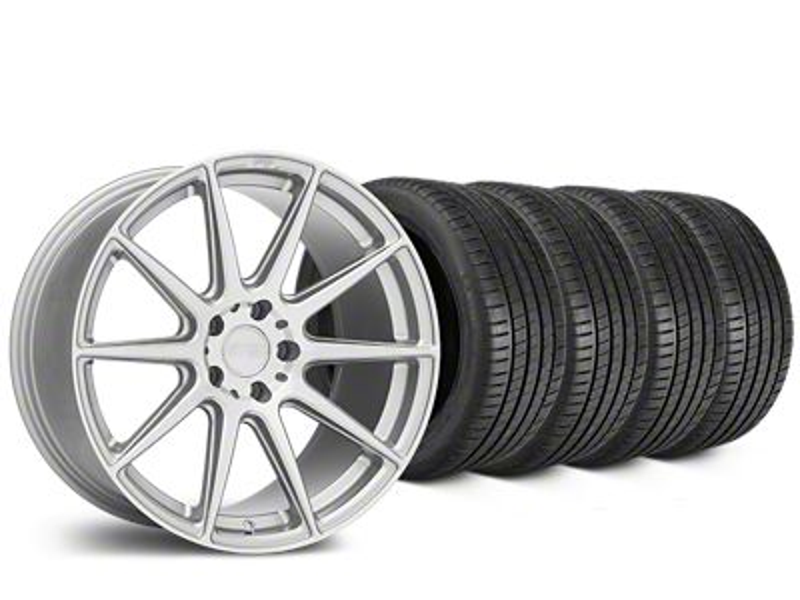 Staggered Niche Essen Silver Wheel & Michelin Pilot Super Sport Tire Kit - 19 in. - 2 Rear Options (15-19 All)