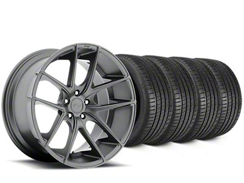 Staggered Niche Targa Matte Anthracite Wheel & Michelin Pilot Super Sport Tire Kit - 19 in. - 2 Rear Options (15-19 All)
