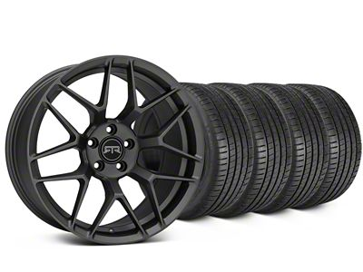 Staggered RTR Tech 7 Charcoal Wheel & Michelin Pilot Super Sport Tire Kit - 19 in. - 2 Rear Options (15-19 All)