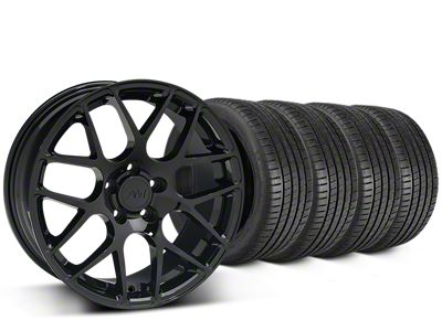 Staggered AMR Black Wheel & Michelin Pilot Super Sport Tire Kit - 20 in. - 2 Rear Options (05-14 All)