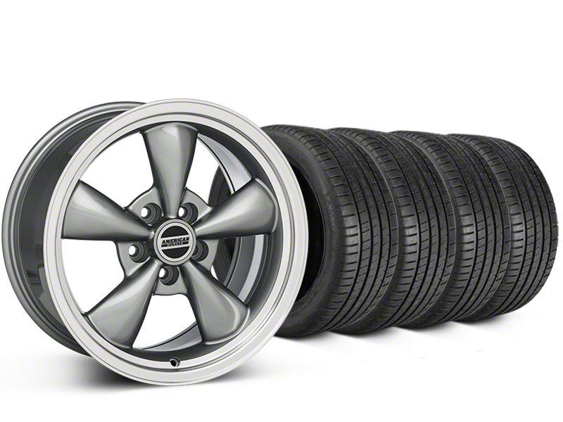 Staggered Bullitt Anthracite Wheel & Michelin Pilot Super Sport Tire Kit - 20 in. - 2 Rear Options (05-10 GT; 05-14 V6)