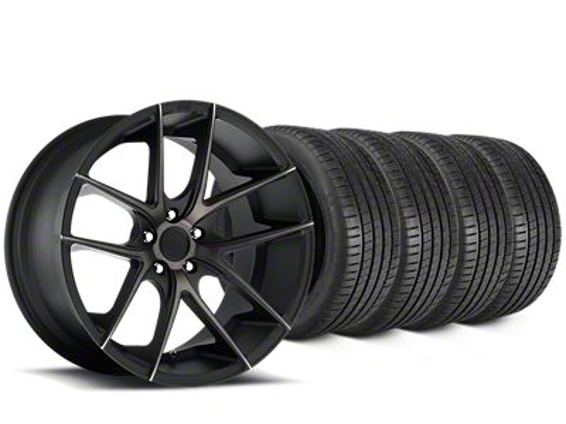 Staggered Niche Targa Matte Black Wheel & Michelin Pilot Super Sport Tire Kit - 20 in. - 2 Rear Options (05-14 All)
