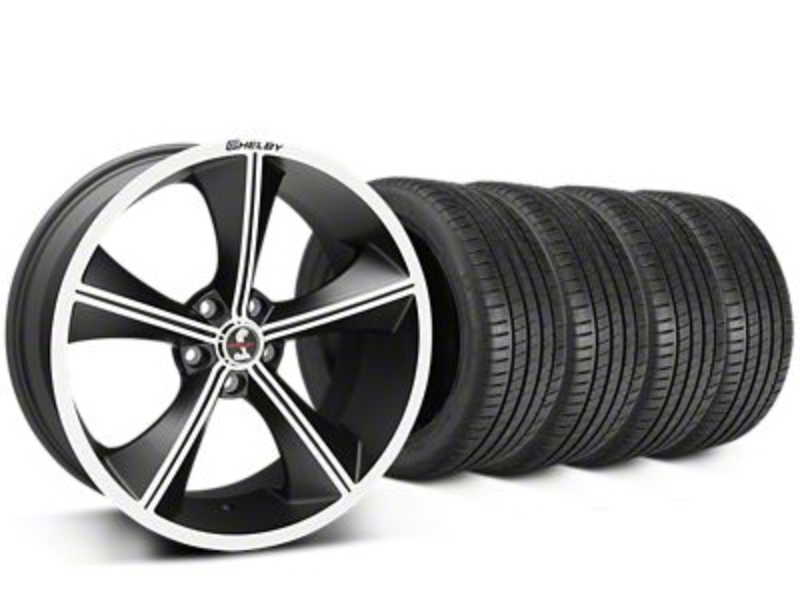 Staggered Shelby CS70 Matte Black Wheel & Michelin Pilot Super Sport Tire Kit - 20 in. - 2 Rear Options (05-14 All)