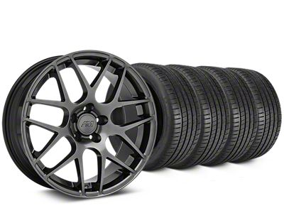 Staggered AMR Dark Stainless Wheel & Michelin Pilot Super Sport Tire Kit - 20 in. - 2 Rear Options (15-19 GT, EcoBoost, V6)