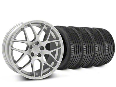 Staggered AMR Silver Wheel & Michelin Pilot Super Sport Tire Kit - 20 in. - 2 Rear Options (15-19 GT, EcoBoost, V6)