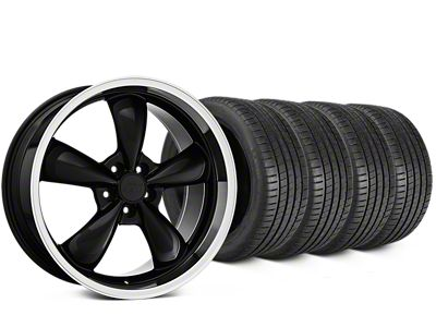 Staggered Bullitt Black Wheel & Michelin Pilot Super Sport Tire Kit - 20 in. - 2 Rear Options (15-19 EcoBoost, V6)