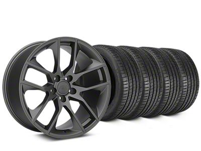Staggered Magnetic Style Charcoal Wheel & Michelin Pilot Super Sport Tire Kit - 20 in. - 2 Rear Options (15-19 GT, EcoBoost, V6)