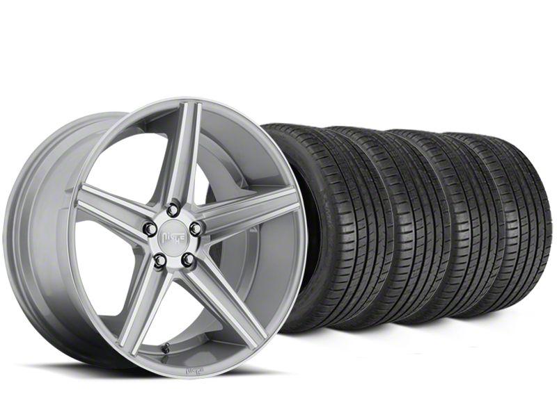 Staggered Niche Apex Machined Silver Wheel & Michelin Pilot Super Sport Tire Kit - 20 in. - 2 Rear Options (15-19 All)