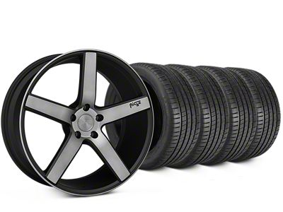Staggered Niche Milan Matte Black Machined Wheel & Michelin Pilot Super Sport Tire Kit - 20 in. - 2 Rear Options (15-19 All)