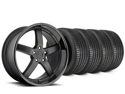 Staggered Niche Pantano Matte Black Wheel & Michelin Pilot Super Sport Tire Kit - 20 in. - 2 Rear Options (15-19 All)