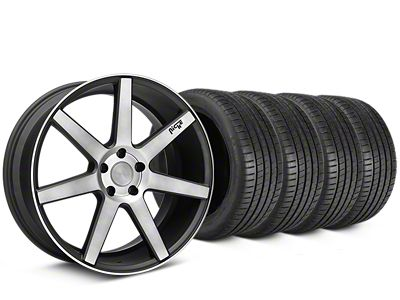 Staggered Niche Verona Double Dark Wheel & Michelin Pilot Super Sport Tire Kit - 20 in. - 2 Rear Options (15-19 All)