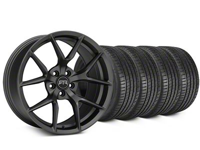 Staggered RTR Tech 5 Charcoal Wheel & Michelin Pilot Super Sport Tire Kit - 20 in. - 2 Rear Options (15-19 All)