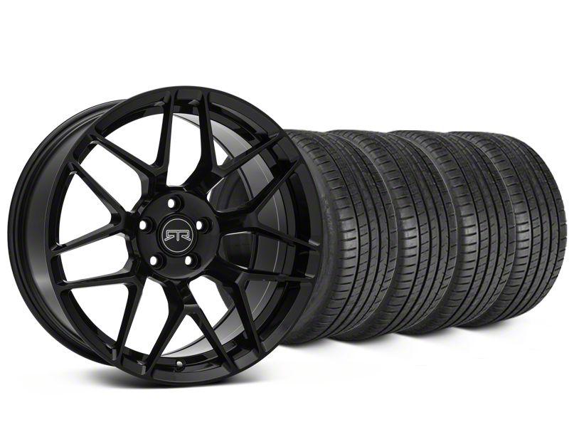Staggered RTR Tech 7 Black Wheel & Michelin Pilot Super Sport Tire Kit - 20 in. - 2 Rear Options (15-19 All)