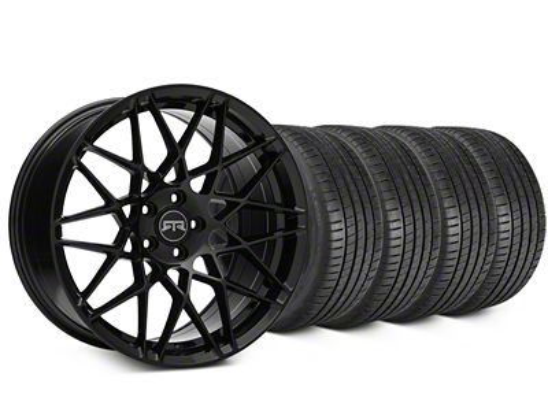 Staggered RTR Tech Mesh Black Wheel & Michelin Pilot Super Sport Tire Kit - 20 in. - 2 Rear Options (15-19 All)