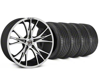 Staggered Shelby CS1 Black Machined Wheel & Michelin Pilot Super Sport Tire Kit - 20 in. - 2 Rear Options (15-17 All)