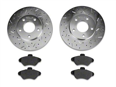 Xtreme Stop Precision Cross-Drilled & Slotted Rotor w/ Carbon Graphite Brake Pad Kit - Front (94-98 GT, V6)