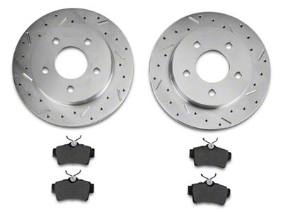 Xtreme Stop Precision Cross-Drilled & Slotted Rotors w/ Ceramic Brake Pad Kit - Rear (94-04 GT, V6)