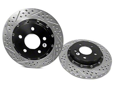 Baer EradiSpeed+ 2-Piece Drilled & Slotted Rotors - Rear Pair (94-04 Cobra, Bullitt, Mach 1)
