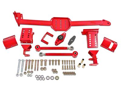 BMR Body Mounted Watts Links w/ Poly Bushings & Rod Ends - Red (05-14 Coupe)