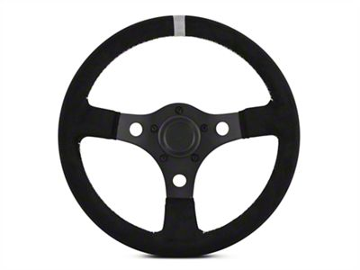 MMD 13 in. Black Suede Performance Steering Wheel - Gray Center Stripe (84-14 All)
