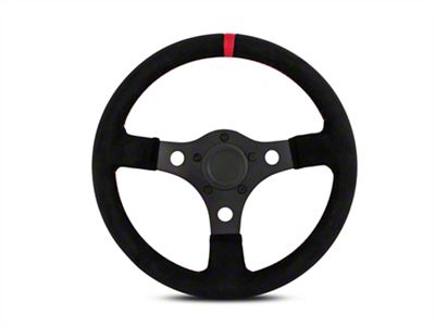 MMD 13 in. Black Suede Performance Steering Wheel w/ Quick Disconnect Kit - Red Center Stripe (84-04 All)