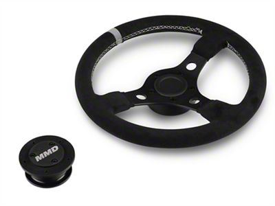 MMD 13 in. Black Suede Performance Steering Wheel w/ Quick Disconnect Kit - Gray Center Stripe (05-14 All)