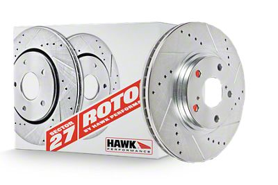 Hawk Performance Sector 27 Drilled & Slotted Rotors - Front Pair (90-93 5.0L)