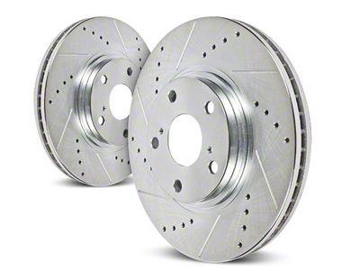 Power Stop Evolution Cross-Drilled & Slotted Rotors - Front Pair (94-04 Cobra, Bullitt, Mach 1)