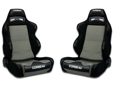 Corbeau LG1 Racing Seat - Black/Gray Cloth - Pair (79-18 All)