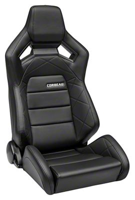 Corbeau Sportline RRX Reclining Seat - Black Cloth/Black Carbon Fiber Vinyl - Pair (79-19 All)