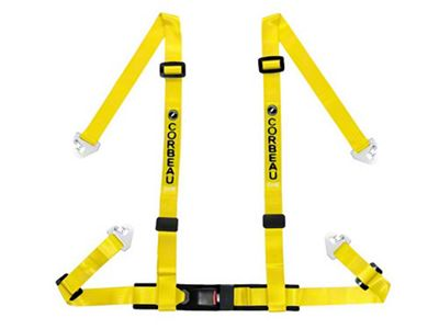 Corbeau 2 in. 4-Point Snap-In Harness Belt - Yellow (79-18 All)
