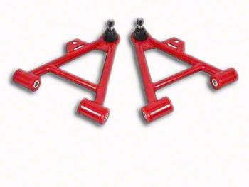 BMR Non-Adjustable Front Lower Coil-Over A-Arms - Poly Bushings - Standard Ball Joint - Red (79-93 All)