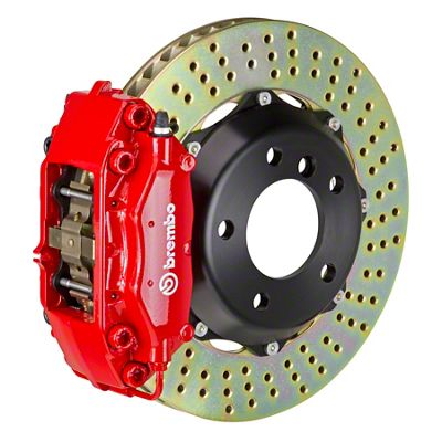 Brembo GT Series 4-Piston Front Brake Kit - Cross Drilled Rotors - Red (05-14 GT, V6)
